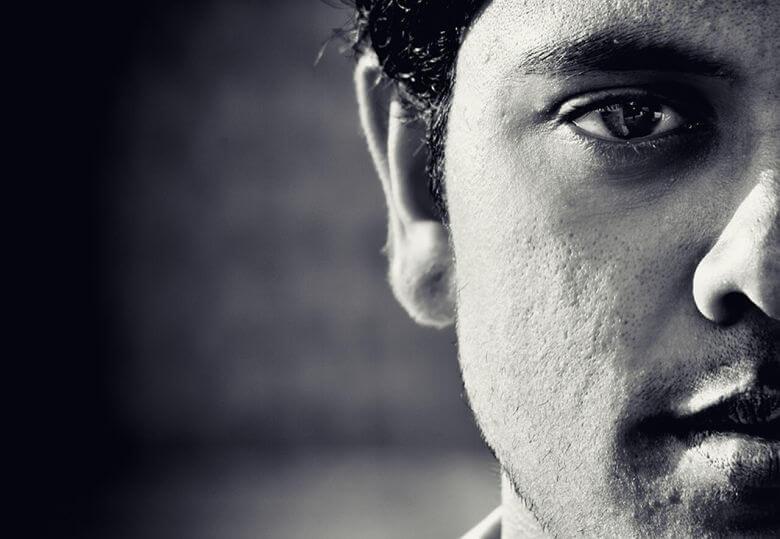 Man's face up close