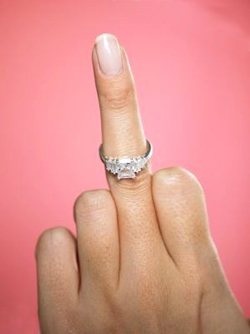 A woman's middle finger with a diamond ring on it