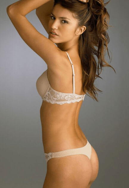 Beautiful brunette in white lingerie