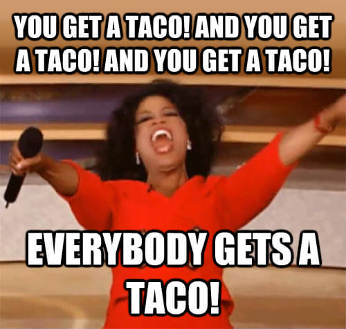 Oprah gives away tacos