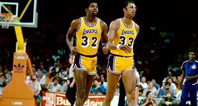 Magic Johnson and Kareem Abdul Jabbar of the 1980 Lakers