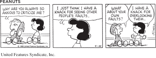 Peanuts cartoon - cognitive bias